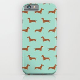 Red Dachshund Chocolate Tan Sausage Dog on Mint Green Background Dog Pattern for Dog Lover iPhone Case