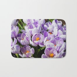 Purple and White Crocuses Bath Mat