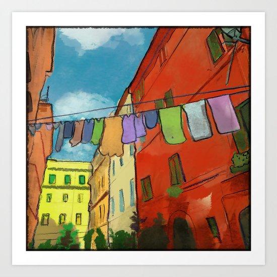 Laundry in Trastevere Art Print