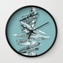 Graphic Art SIGNPOST | turquoise Wall Clock