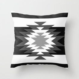 Aztec - black and white Throw Pillow