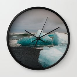 Sunset at the Glacier Lagoon in Iceland Wall Clock