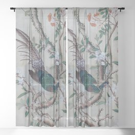 Antique Chinoiserie with Bird Sheer Curtain