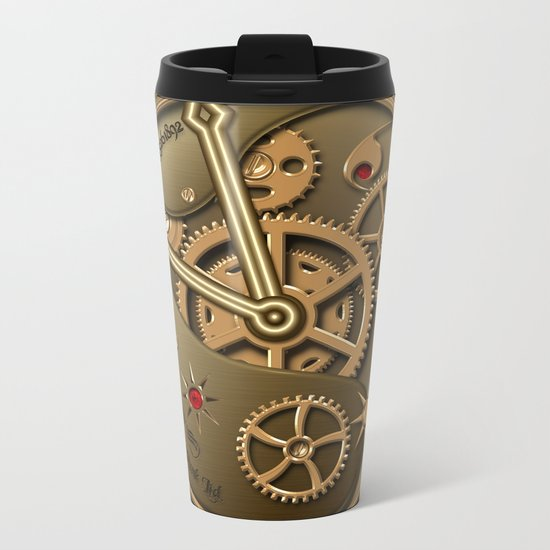 Steampunk clock gold Metal Travel Mug