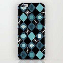 Mid Century Modern Black & Turquoise Diamonds iPhone Skin