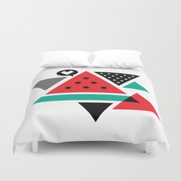 Watermelon Geometic Triangles Duvet Cover