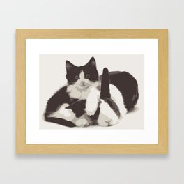 Cat and Bunny Framed Art Print