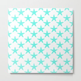 Starfishes (Turquoise & White Pattern) Metal Print