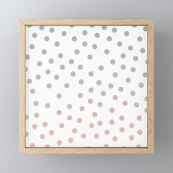 Simply Dots in Coral Peach Sea Green Gradient on White Framed Mini Art Print