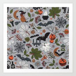 Embroidered halloween Art Print