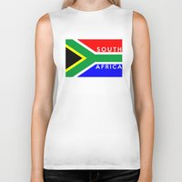 south africa Biker Tanks featuring South Africa country flag name text by tony tudor