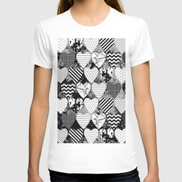 Textured Black And White Hearts - Abstract, geometric pattern T-shirt