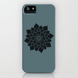 Mandala flower, dark grey geometrical floral pattern iPhone Case