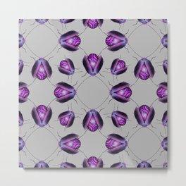 Purple Agate Beetles Pattern Metal Print