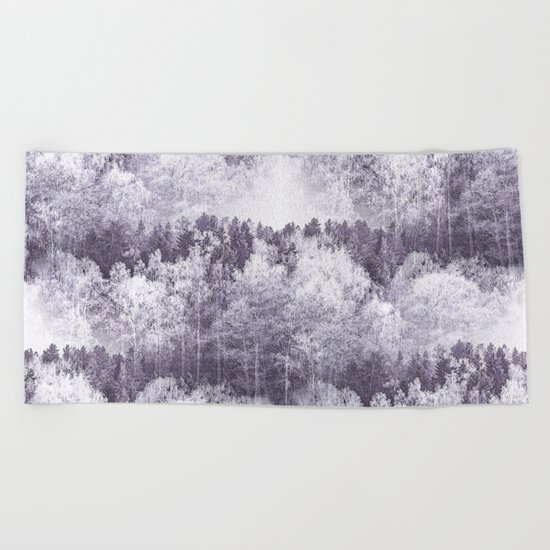Captivating landscape - beautiful forest in winter colors Beach Towel