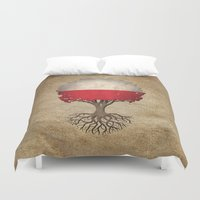 poland Duvet Covers featuring Vintage Tree of Life with Flag of Poland by Jeff Bartels