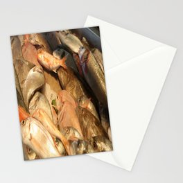 Variety of Fresh Fish Seafood on Ice Stationery Cards