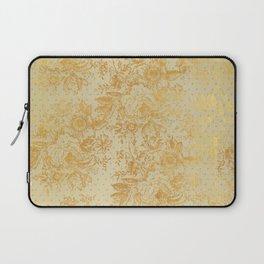 golden vintage damask floral pattern Laptop Sleeve