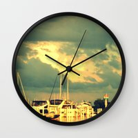 sail Wall Clocks featuring Lets Go For a Boat Ride by 2sweet4words Designs