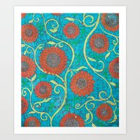 Kate's Flower Batik 2 Art Print