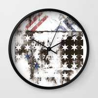 flag Wall Clocks featuring FLAG by TOO MANY GRAPHIX