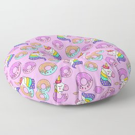 Cute happy funny colorful dreaming magical fantasy unicorns, sweet yummy Kawaii adorable donuts cartoon pastel baby pink pattern design. Floor Pillow