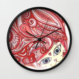 Cherry Red Cat Wall Clock
