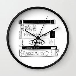 Jane Austen Book Stack Wall Clock