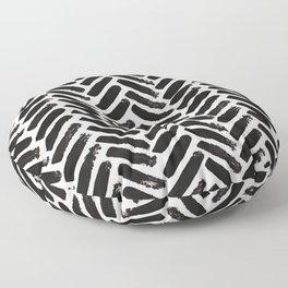 Painted Herringbone Stripe \\ Black & White Floor Pillow