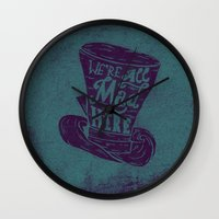 alice in wonderland Wall Clocks featuring Alice in Wonderland by Drew Wallace