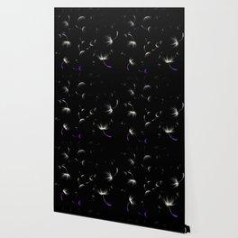 Dandelion Seeds Asexual Pride (black background) Wallpaper