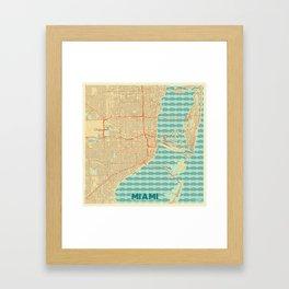 Miami Map Retro Framed Art Print