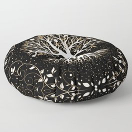 Tree of Life - Yggdrasil - black white and gold Floor Pillow