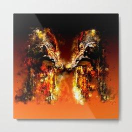 wolves hate monday splatter watercolor Metal Print