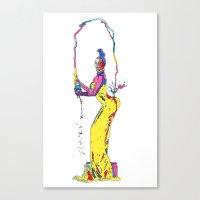 kim kardashian Canvas Prints featuring YELLOW KIM KARDASHIAN by The Draw Blurg