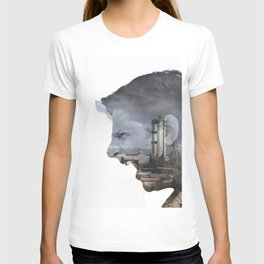 Angry shouting man face on cityscape T-shirt