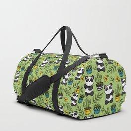 Little Panda Print, Baby Panda, Panda Bear, Boho Panda, Succulents and Flower Duffle Bag