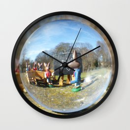 Easter Bunny school, Glass Ball Photography Wall Clock