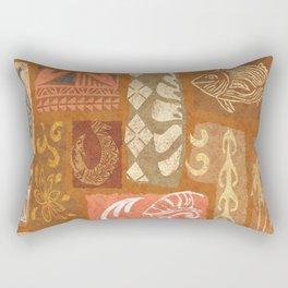 Vintage Hawaiian Tapa Collage Rectangular Pillow
