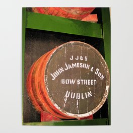 Jameson whiskey - Jameson Irish whiskey wooden barrel face photography Poster