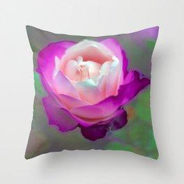 two tone rose: fuschia Throw Pillow