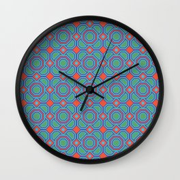 California Dreaming Abstract Geometric Seamless Pattern Wall Clock