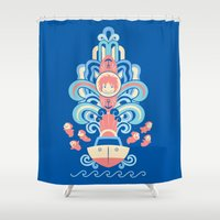 ponyo Shower Curtains featuring Ponyo Deco by Ashley Hay