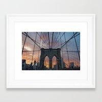 brooklyn bridge Framed Art Prints featuring Brooklyn Bridge by Matthieu Cassard