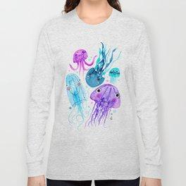 Jelly Fish Fields - Ocean Watercolor Long Sleeve T-shirt