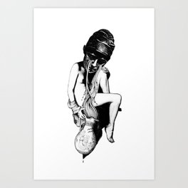 Aquarius - Zodiac series in black and white Art Print