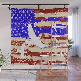AMERICANA FLAG & WHITE EAGLES FROM  SOCIETY6 BY SHARLESART. Wall Mural