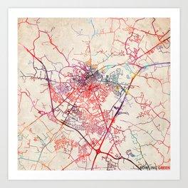 Bowling Green map Kentucky KY Art Print
