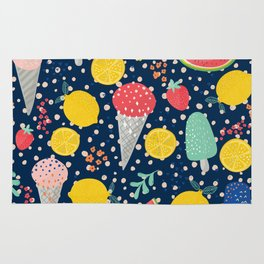 Colorful summer food pattern Rug