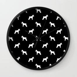 Schnauzer dog silhouette dog pattern dog breed pet art dog lover schnauzers Wall Clock